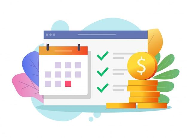 Calendário de data de pagamento em dinheiro ou agenda no calendário