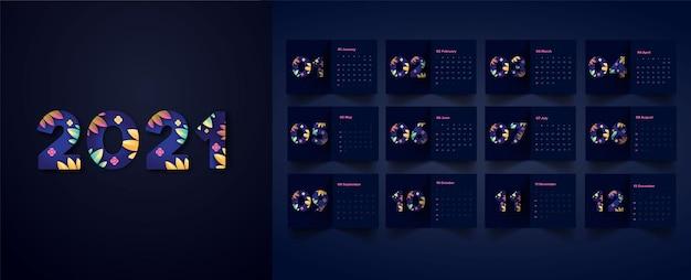 Calendário de design de flores
