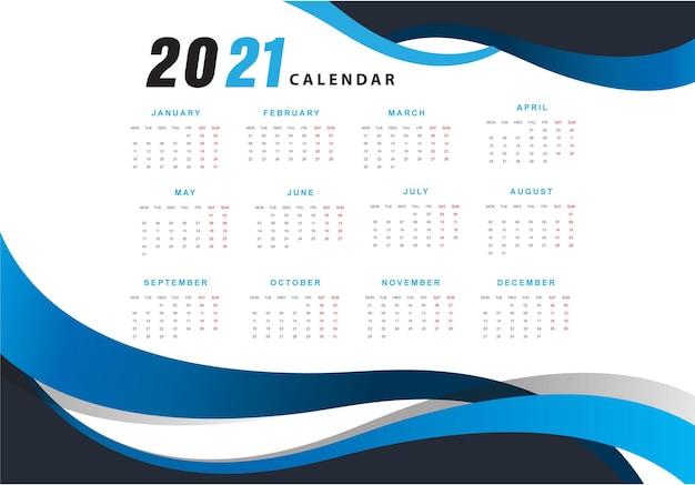 Calendário de design de onda azul 2021