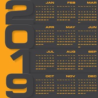 Calendário de design moderno 2019