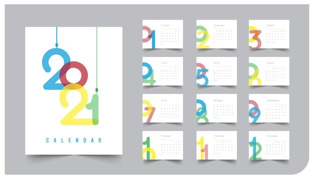 Calendário de design simples colorido