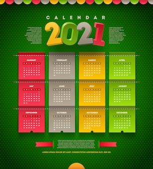 Calendário de design temlate para 2021 anos