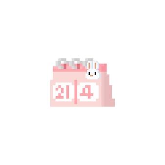 Calendário de dia de páscoa de pixel com cabeça de coelho