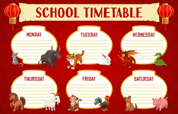 Calendário de educação escolar ou modelo de programação com animais do horóscopo chinês. plano de estudo semanal ou planejador com horário das aulas dos alunos, animais do zodíaco do ano novo chinês e lanternas vermelhas
