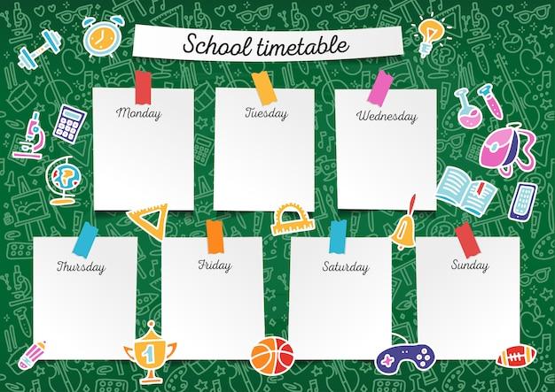 Calendário de escola de modelo para alunos e alunos. dias da semana