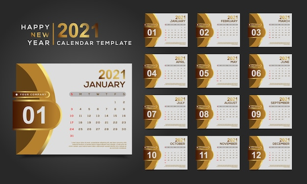 Calendário de feliz ano novo