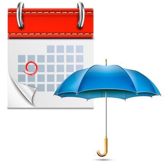 Calendário de folhas soltas com guarda-chuva aberto
