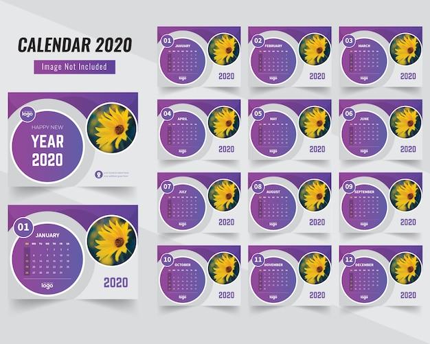Calendário de forma de círculo bonito 2020
