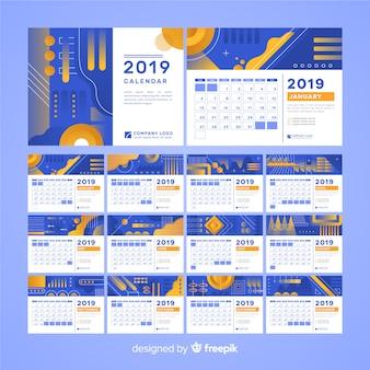 Calendário de formas abstratas 2019