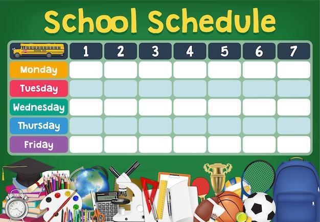 Calendário de horário escolar com itens de estudante