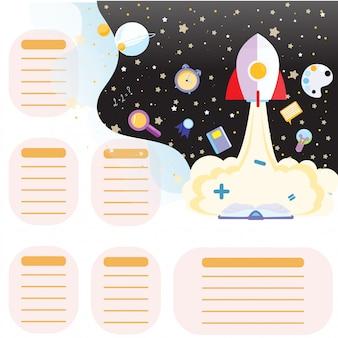 Calendário de horário escolar de volta à escola. fundo espacial com estrelas e disciplinas escolares