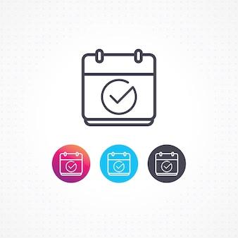 Calendário de ícone de vetor com marca de seleção