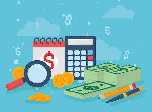 Calendário de impostos e ícones de dinheiro