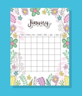 Calendário de janeiro com plantas e folhas de flores