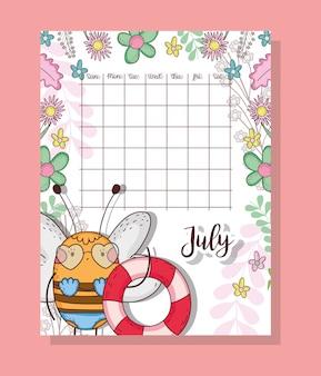 Calendário de julho com animal bonito abelha