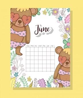 Calendário de junho com animal bonito ursos