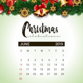 Calendário de junho de 2019