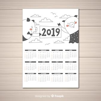 Calendário de mão desenhada 2019