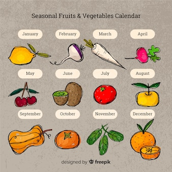 Calendário de mão desenhada de frutas e legumes sazonais