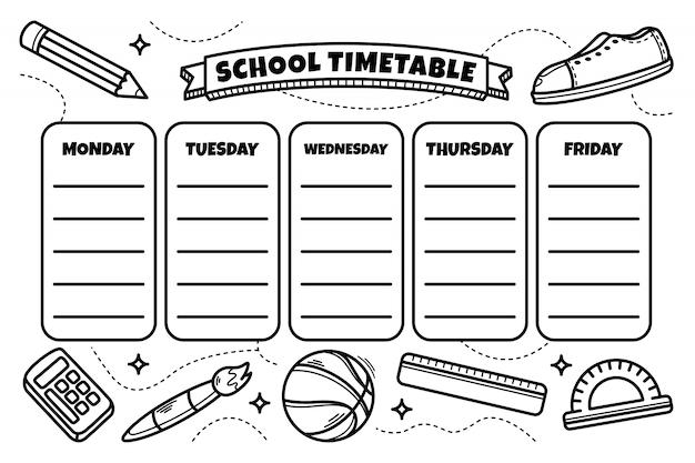 Calendário de mão desenhada de volta à escola