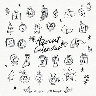Calendário de mão desenhada do advento