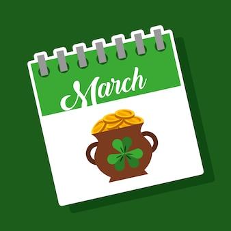 Calendário de março caldeirão monedas cheias tesouro símbolo dos patricks