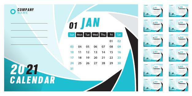 Calendário de mesa abstrato 2021