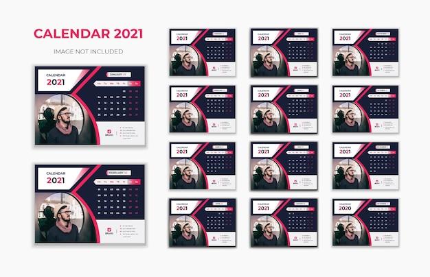 Calendário de mesa, ano novo de 2021