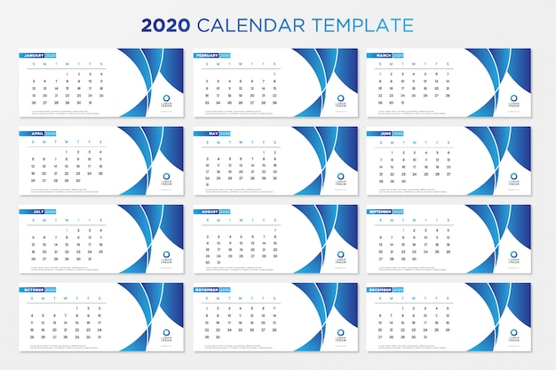 Calendário de mesa azul 2020