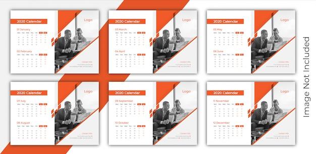 Calendário de mesa de 6 páginas 2020