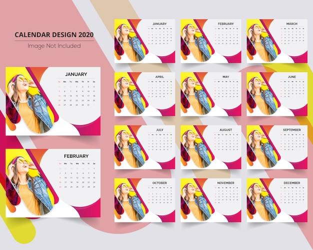 Calendário de mesa de venda criativa 2020