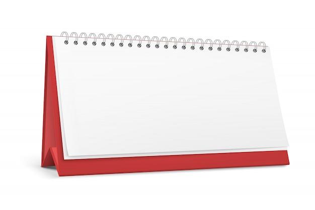 Calendário de mesa em branco em pé com uma espiral.
