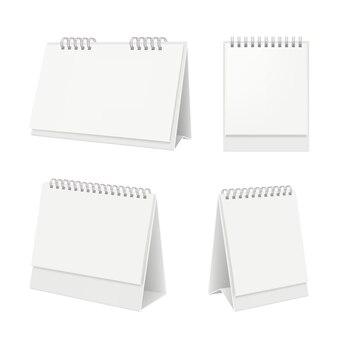 Calendário de mesa. organizador com calendário diário de páginas em branco na maquete realista de mesa
