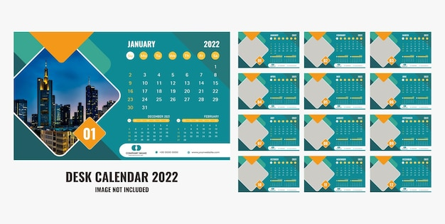 Calendário de mesa ou planejador 2022
