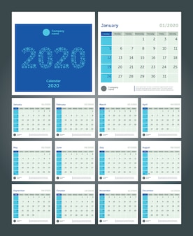 Calendário de mesa para 2020