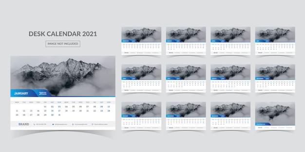 Calendário de mesa para 2021. a semana começa na segunda-feira