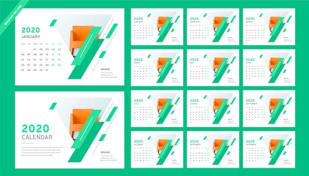 Calendário de mesa para móveis 2020