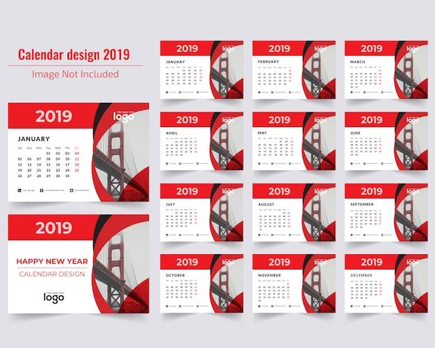 Calendário de mesa vermelho 2019