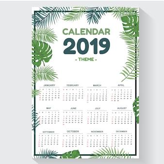 Calendário de modelo de folha 2019 tema design criativo e exclusivo