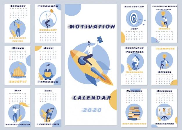 Calendário de motivação de inscrição 2020 dos desenhos animados. calendário motivacional para todos os dias.
