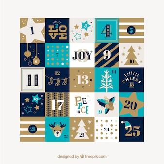 Calendário de natal bonita com ornamentos e listras