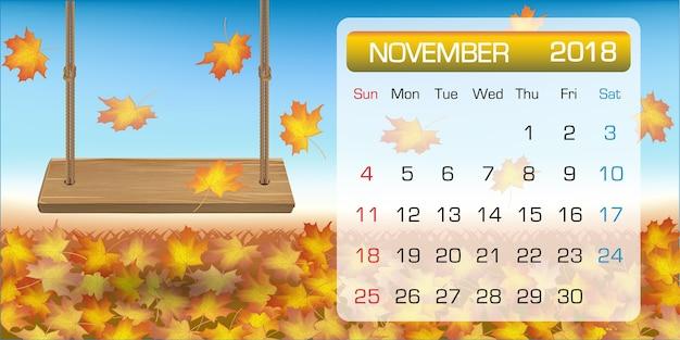 Calendário de novembro de amostra 2018 com balanço de folhas de outono