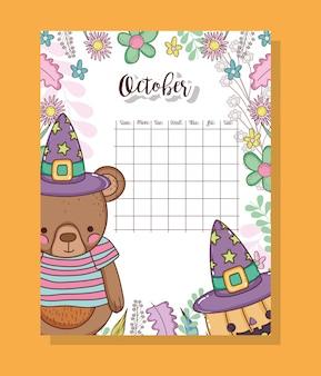 Calendário de outubro com animais fofos ursos