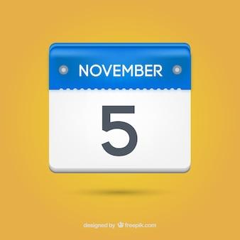 Calendário de papel cinco novembro