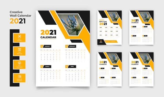 Calendário de parede 2021 com 4 páginas