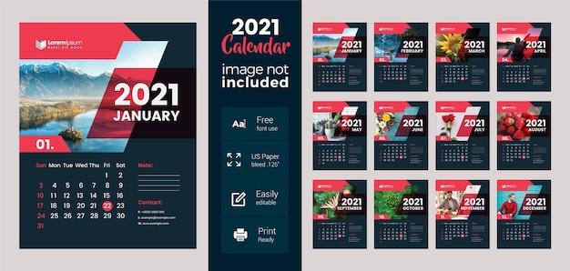 Calendário de parede 2021 com layout escuro e vermelho