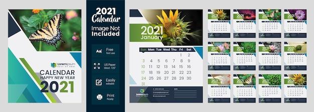 Calendário de parede 2021 com layout multicolorido