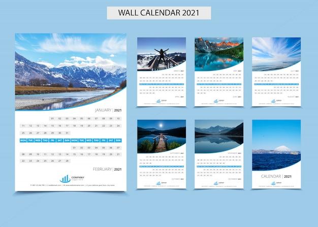 Calendário de parede 2021 conjunto modelo