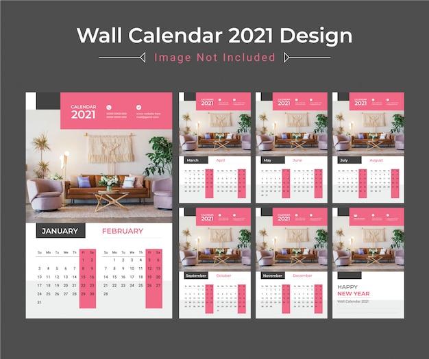 Calendário de parede 2021, planejador de datas