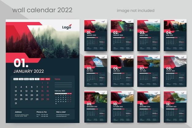 Calendário de parede 2022 com detalhes em design criativo em vermelho e escuro